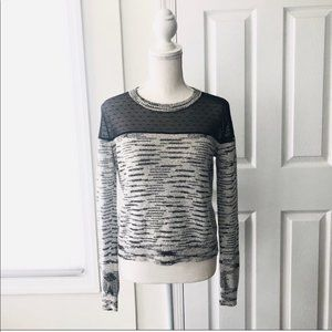 The Kooples Black White Dotted Mesh Panel Sweater